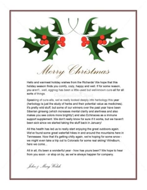 word templates for holiday letters printable holly holiday letter template