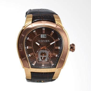 jual aigner palermo leather jam tangan pria brown