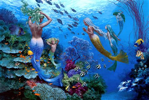 Tinta Batik Canvas Print Painting Picture Underwater World Mermaid On