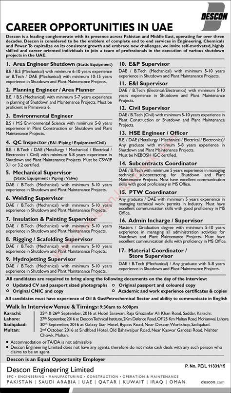 electrical design engineer uae descon engineering uae jobs september 2016 civil