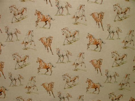 horse upholstery fabric horses vintage linen look animal print designs curtain