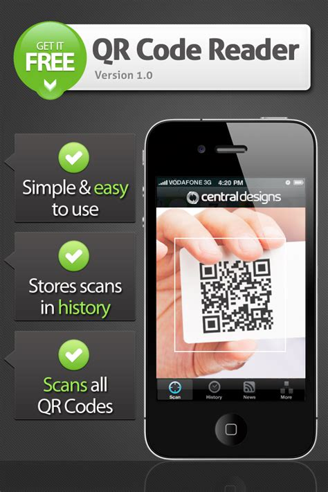 iphone qr scanner central designs qr scanner productivity utilities free app for iphone and ifreeware