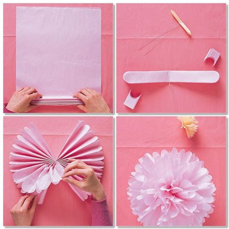 Diy Tissue Paper Crafts - tissue paper pom pom diy flower