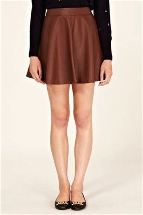 oasis faux leather skater skirt in brown lyst