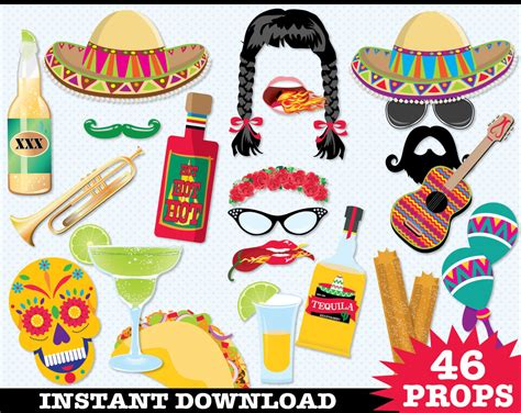 free printable photo booth props mexican cinco de mayo photo booth props fiesta mexican holiday