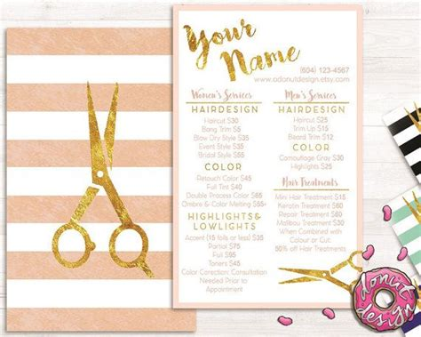 Premade Gold Striped Hair Stylist Service List Price List Salon Brochure Template H A Ir Hair Salon Menu Templates