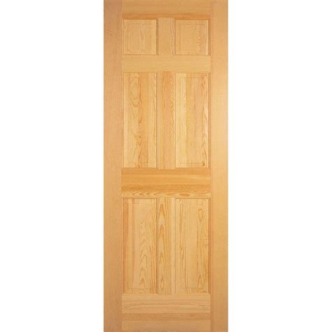 Interior Six Panel Doors Masonite 24 In X 80 In 6 Panel Right Handed Solid Smooth Unfinished Pine Single Prehung
