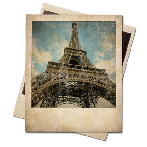 vintage polaroid vintage polaroid eiffel tower instant photo stock photo