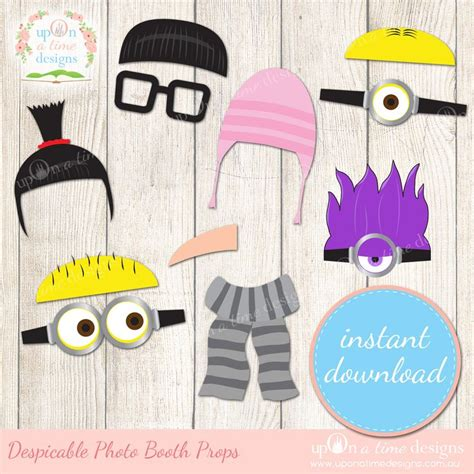 minions photo booth layout despicable me inspired photobooth props display kayden