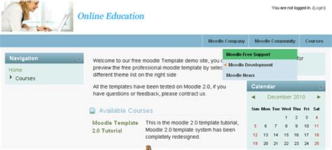 moodle theme horizontal menu drop down menu moodle template