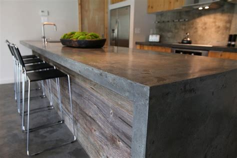diy wood waterfall countertop concrete island with barnwood i no idea how i can