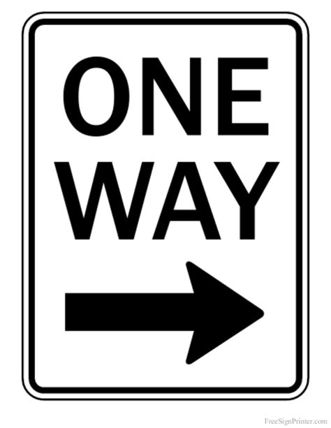 Printable One Way Road Sign | printable one way right arrow sign
