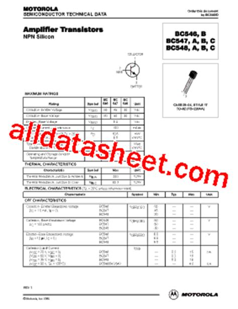 transistor bc337 bc547 bc547 datasheet pdf on semiconductor