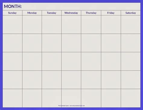 4 week calendar blank template myideasbedroom com