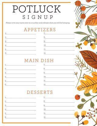 potluck sign  sheet thanksgiving potluck holidays