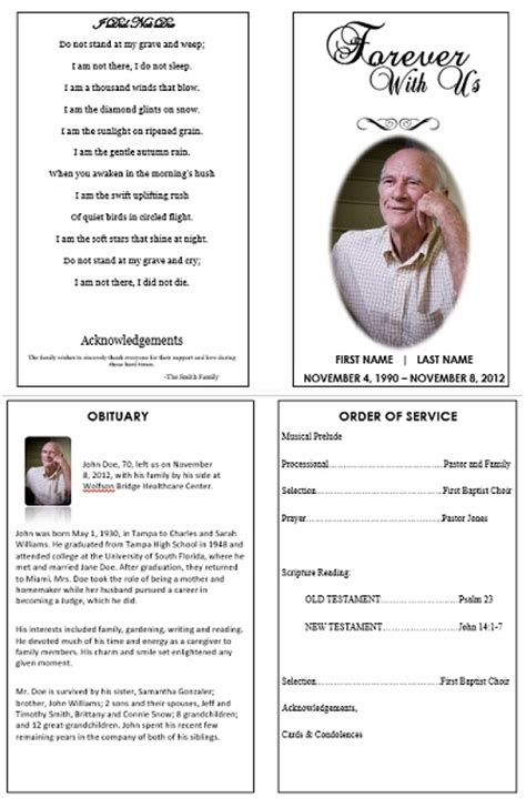 single fold funeral memorial program template for dad or