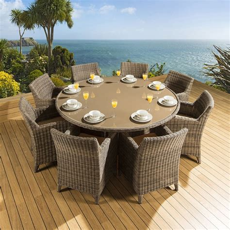 Rattan Garden/Outdoor Dining Set Round Table   8 Chairs