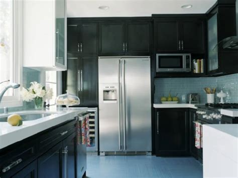 Kitchen Backsplash With Dark Cabinets Blue Glass Tile Backsplash Contemporary Kitchen Hgtv