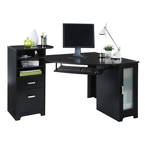 Black Corner Office Desk by Bradford Corner Desk Black By Office Depot Officemax