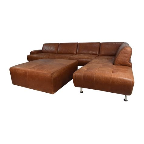 leather sectional with ottoman 53 off w schillig w schillig leather sectional and