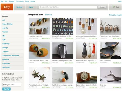 Handmade Items Website - etsy the ebay for handmade goods ghacks tech news