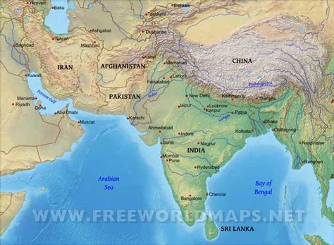 asia map geography south asia physical map