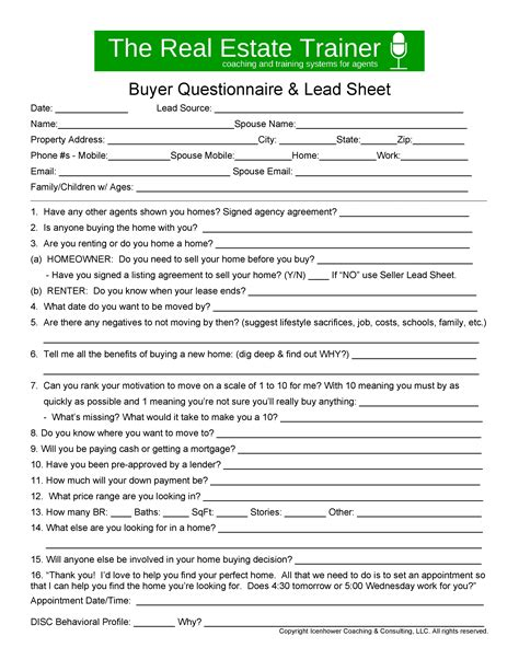 Buyer Lead Sheet And Scripts To Convert Appointments Real Estate Buyer Information Sheet Template