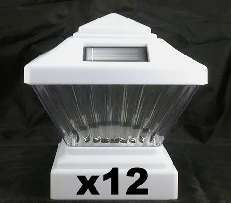 12 solar fence lights fits 4x4 pvc vinyl posts white
