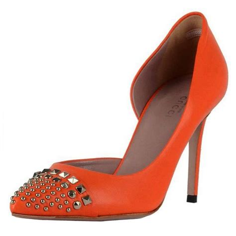 new gucci d orsay orange leather studded shoes pumps it 36