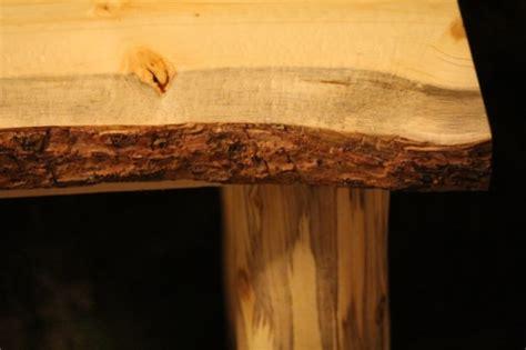 rustic log  edge bark  top  table night stand