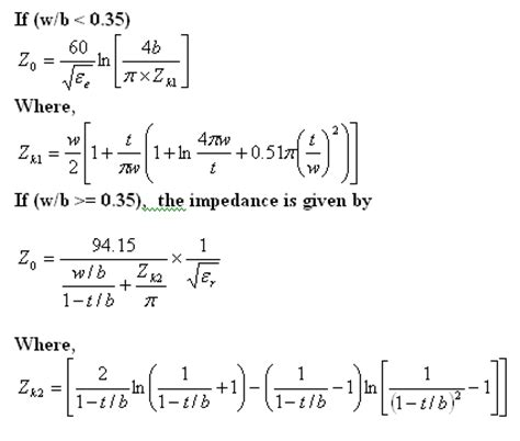 what is the formula for impedance of an inductor stripline impedance calculator