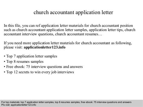 application letter for church church accountant application letter