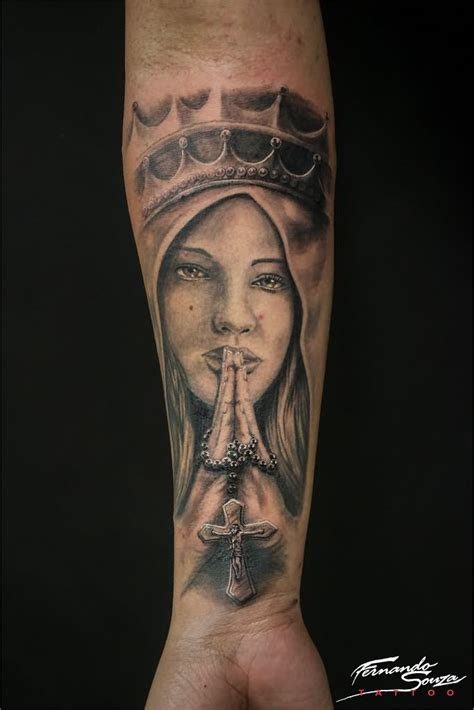 holy mary tattoo designs 3d rosary cross in on forearm