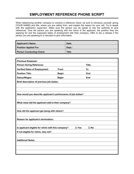 Reference Check Form Reference Check Phone Script Template Sle Form