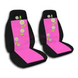 pink and black daisies car seat covers