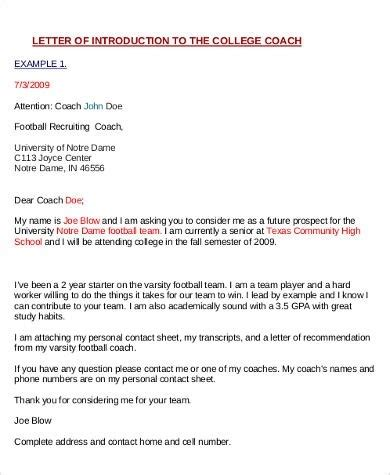 College Coach Letter Sle Letter To College Coaches For Recruiting World Of Exles