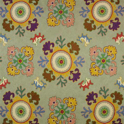 house of fabric clarence house bukhara crewel embroidered fabric blue