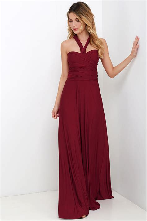 maxi infinity dress pretty maxi dress convertible dress burgundy dress