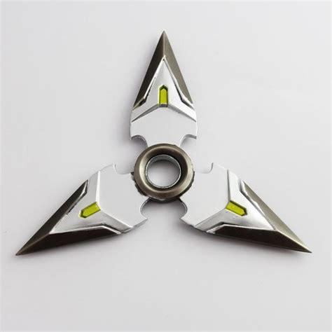 Fidget Spinner Metal Shuriken spinning gaming genji shuriken silver green fanfit