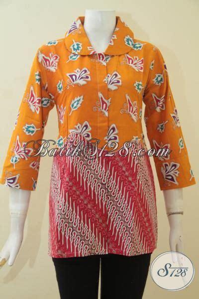 Blus Batik Elegan 263 Cap produk baju batik elegan dan berkelas kombinasi dua motif blus batik cap tulis istimewa