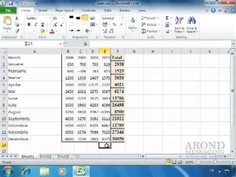 excel 2010 full tutorial youtube using excel 2010 add a row or column of numbers youtube