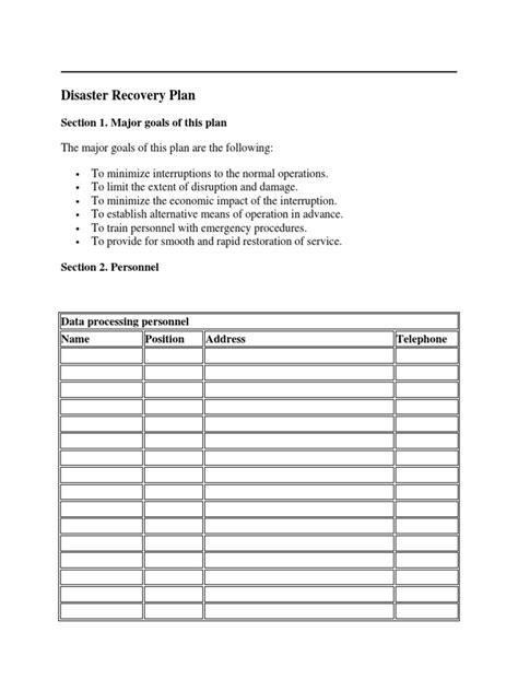 it disaster recovery plan template doc disaster recovery plan template docshare tips