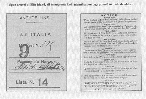 identification card ellis island template ellis island circa 1905