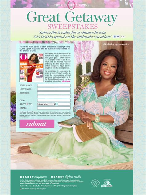 magazine sweepstakes hearst magazines sweepstakes oprah magazine day giveoway