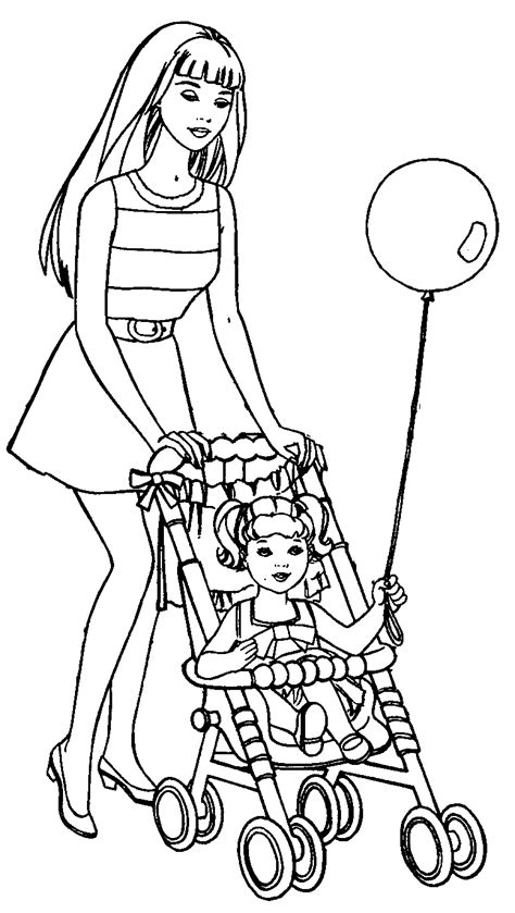 coloring pictures of barbie dolls dolls pram coloring pages
