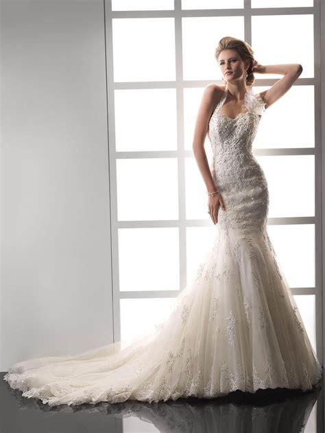 Chapel Wedding Dress by Vintage Halter Beading Mermaid Wedding Dress With Chapel