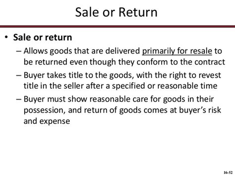 sle return policy template 115 chap013 sales contracts formation title risk