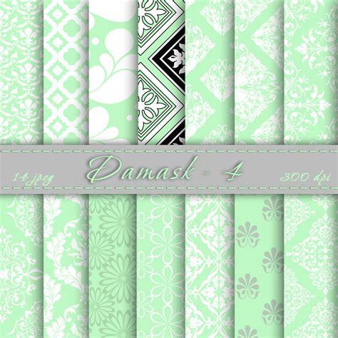 printable paper green mint damask digital scrapbook paper digital downloads
