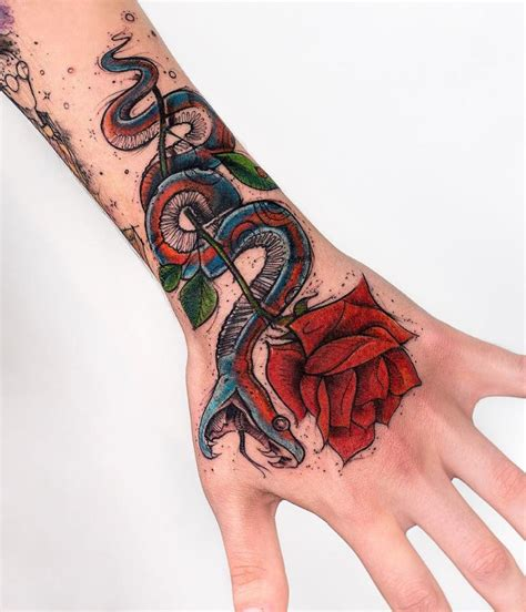 snake amp rose tattoo inkstylemag