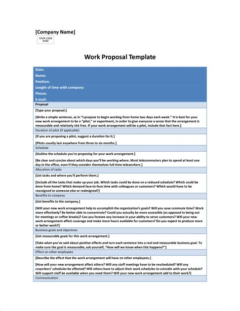 Work From Home Proposal Template 7 Work Proposal Budget Proposal Template Word Apology Letter Work From Home Template